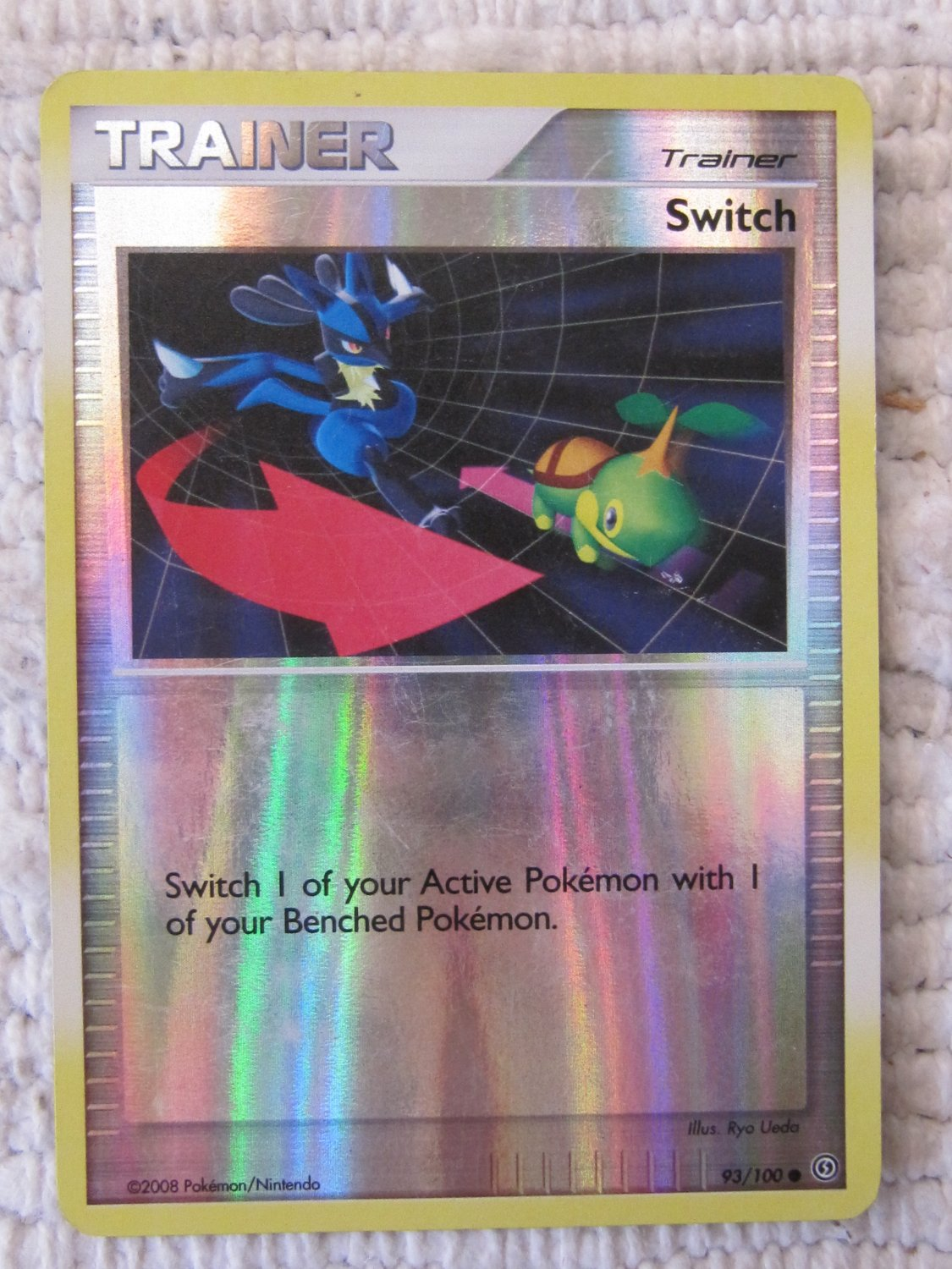 Authentic POKEMON Trainer Switch Card 93/100 Holo Foil (c) 2008