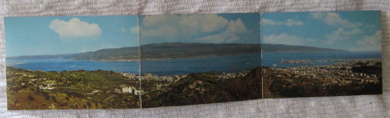 Vintage Panoramic Old Postcard 3 Panel Messina Italy Coastline View Color Kodak Ektachrome