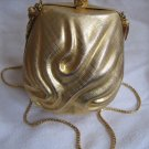 Vintage WALBORG Italy Small Golden Gilt Hard Shell Evening Bag Purse 116 in Original Box