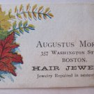 Rare Antique Victorian c 1870s Boston, MA Business Card Augustus Morgan Hair Jewelry Washington St.