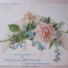 Rare c 1875 Antique Victorian Business Trade Card H.W. Berry Kranich & Bach Pianos Boston