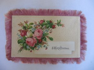 Victorian Fringed Christmas Greeting Card Pink Silk Double-Sided Textured Paper Bouquets