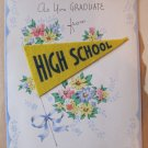 Vintage 1943 High School Graduation Greeting Card Real Felt Pennant Signed by Mrs. Jacobson