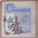 Vintage 1943 Congratulations Greeting Card Signed by Ninnie