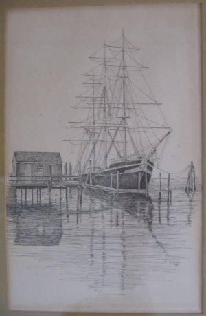 Vintage C.M. Goff Print Schooner Boat at Dock Pen & Ink Matted in Frame