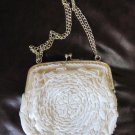 Vintage Small White Beaded Ivory Satin Evening Bag Purse Gold Tone Chain Handle 6.5 x 5.5 Inches