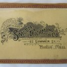 Antique 1890 Smith, Richmond & Co., 62 Summer St., Boston Pocket Ledger Notebook Leather Trim Advert