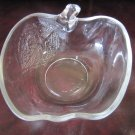 Vintage KIG Clear Glass Apple Shaped Bowl Dish with Textured Leaf Indonesia