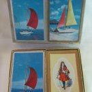 Vintage Congress Playing Cards in Double Deck Case Sailboat & Substituted Sir Walter Raleigh Deck