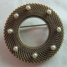 Vintage Brooch Pin Open Circle Wrapped Gold Tone Chain with Tiny Faux Pearls 1.5 Inch