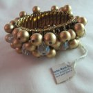 Vintage Bracelet Faux Gold Pearls Clear Lucite Beads Stretch Goldtone Metal Band