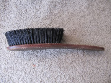 Vintage Clothes Brush Shoe Brush Tooled Leather Handle Natural Bristles 9 Inches