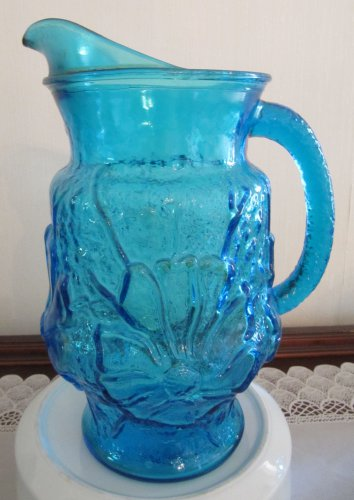 Anchor Hocking Blue Depression Glass Pitcher 2 QT Rainflower