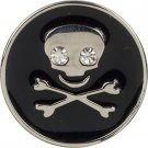 Dickens' Closet 18 mm Black Enamel Skull Crossbones Pet Tag Charm