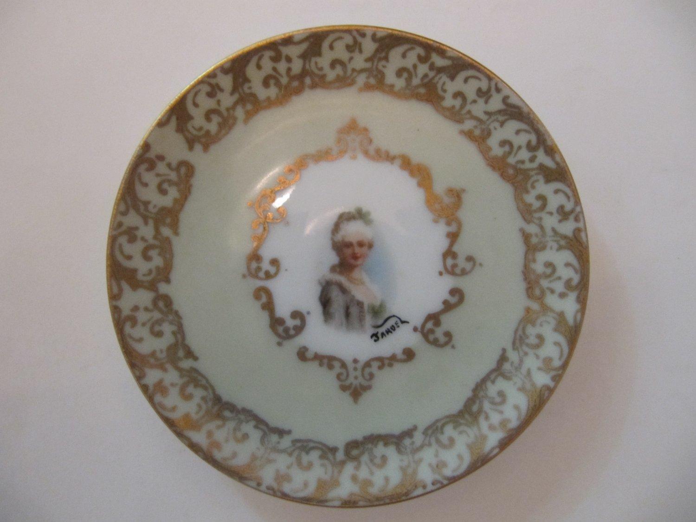 Vintage Jardel Small Handpainted Lady's Vanity Portrait Plate Trinket Dish 4 In