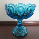 L E Smith Blue Depression Glass Moon and Stars Compote Candy Bowl 6.5 In Tall