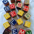 20 Vintage Wooden Blocks ABC Alphabet Letters Pictures Colorful 1.75 x 1.75 Inches