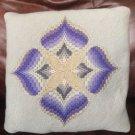 Vintage Needlepoint Satin Stitch Pillow Lt Blue with Blue Lavender Silver Cloverleaf Design 12x12 In
