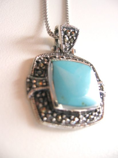 "16"" STERLING SILVER SQUARE TURQUOISE with MARCASITE SETTING NECKLACE"