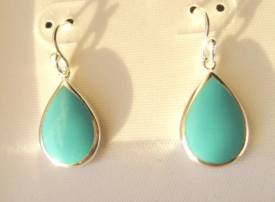 Sterling Silver 12x16mm RainDrop Turquoise Earrings