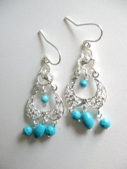 Solid Sterling Silver Turquoise Chandelier Earrings