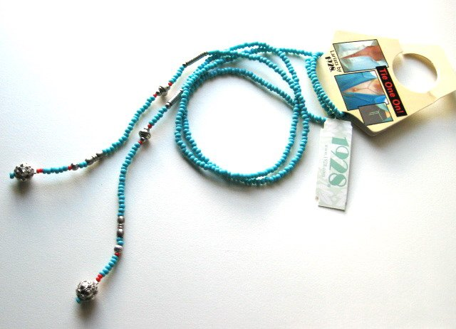 "1928 40.5"" Turquoise Beads Lariats Necklace"