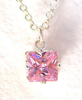 "16"" STERLING SIVER SQUARE PINK CUBIC ZIRCONIA NECKLACE"