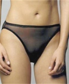 A232T NATORI White Label Soft Sheer Mesh Thong 150005D BLACK SIZE = SMALL