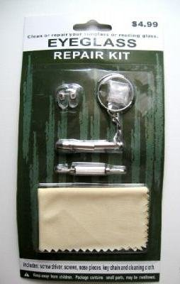 EYEGLASS REPAIR KIT - CLEANING CLOTH, KEY CHAIN, USD0.99