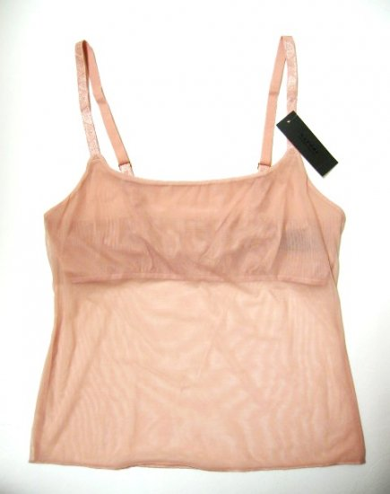 6XN001 NATORI DEEP FLESH SHEER CAMISOLE W/SHELF 141005, SIZE=LARGE