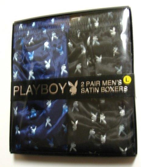 PLAYBOY 2 PAIR BLACK/BLUE MEN'S SATIN BOXER GIFT SET, SIZE LARGE