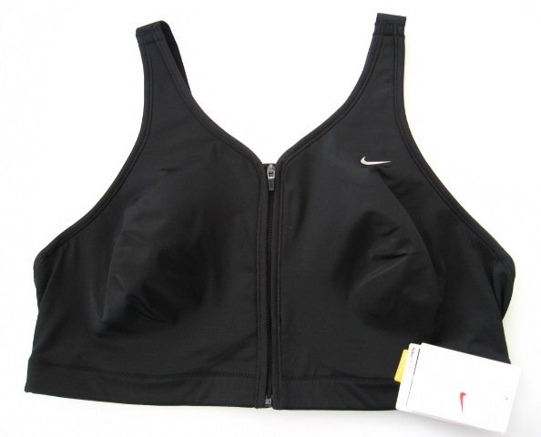 6BS001 NIKE BLACK ZIP FRONT CONTROL SPORTS BRA, 138273, SIZE 34DD