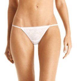A0329 CALVIN KLEIN PERFECT FIT SEDUCTION LACE THONG, F2767, WHITE SIZE MEDIUM