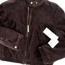 A050RED by marc ecko BROWN VELVET 3/4 SLEEVES V CROP TRACK JACKET, SIZE LARGE