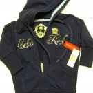 A0502 RED by marc ecko NAVY RHEINSTONE LOGO SWEAT SHIRT HOODIE, SIZE SMALL