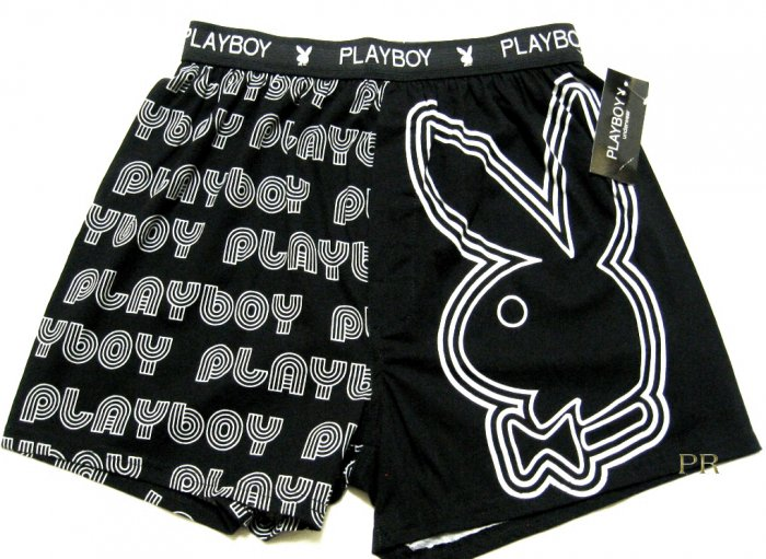 A0413 PLAYBOY BUNNY HEAD & TEXT LOGO KNIT BOXER PK17PL SIZE SMALL