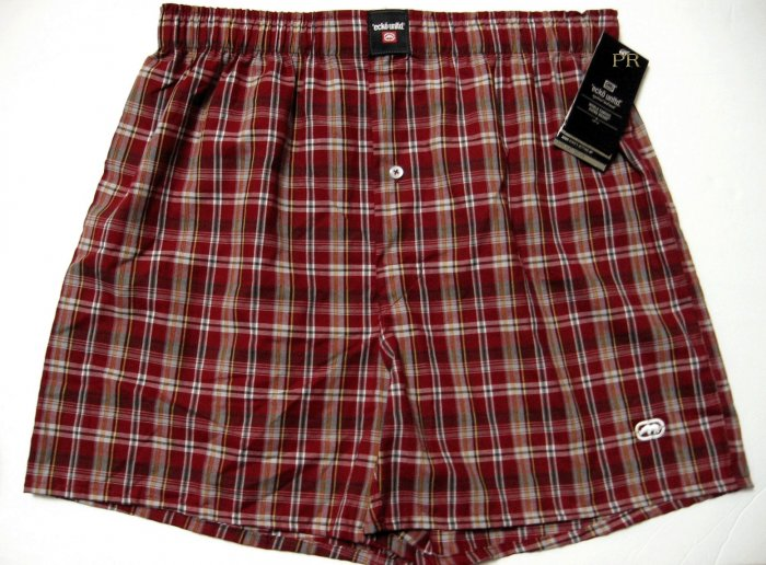 ecko unltd MEN'S RED/MULTI CHECKER WOVEN BOXER 2509, SIZE LARGE