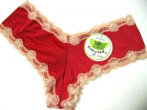 6U0049 HONEYDEW RASP/BLUSH MICROFIBER & LACE BOYSHORT 438, SIZEMEDIUM