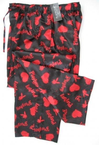 A0018 PLAYBOY BLACK/RED SATIN HEARTS & RABBIT HEAD LONG SLEEP PANT, MC05PL SIZE MEDIUM