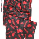 A0018 PLAYBOY BLACK/RED SATIN HEARTS & RABBIT HEAD LONG SLEEP PANT, MC05PL  SIZE LARGE