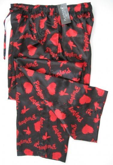 A0018 PLAYBOY BLACK/RED SATIN HEARTS & RABBIT HEAD LONG SLEEP PANT, MC05PL SIZE SMALL