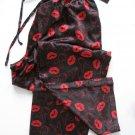 A0018 PLAYBOY BLACK/RED SATIN LIPS & RABBIT HEAD LONG SLEEP PANT, PY02PL SIZE SMALL