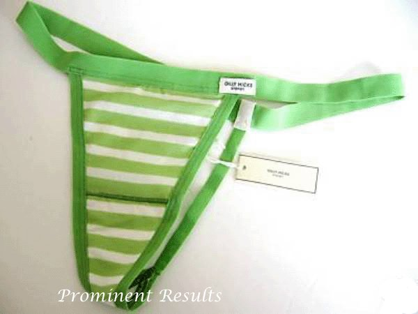 A0096 Gilly Hicks Sydney by Abercrombie Soft Stretch Cotton G-String Thong Lime/Ivory SIZE SMALL