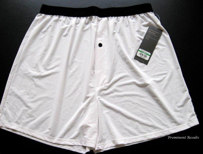 A0103 PERRY ELLIS PORTFOLIO TECHNO-STRETCH WHITE BOXER 163633, SIZE MEDIUM