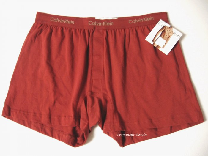 A0100 CALVIN KLEIN MEN'S BRICK BASIC KNIT BOXER U1049D, SIZE MEDIUM