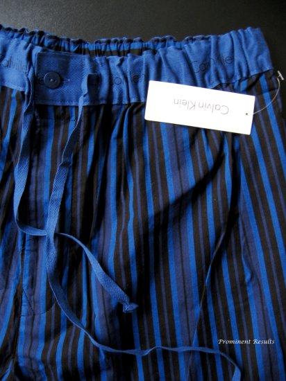 A0184 CALVIN KLEIN BLUE/BLACK STRIPS WOVEN LOUNGE  PANT U7010D, SIZE MEDIUM