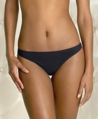 A0256 CALVIN KLEIN BLACK NAKED UNFINISHED EDGE THONG F2636-100, SIZE MEDIUM