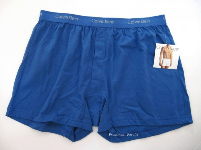 A0100 CALVIN KLEIN MEN'S BLUE BASIC KNIT BOXER U1049D, SIZE MEDIUM