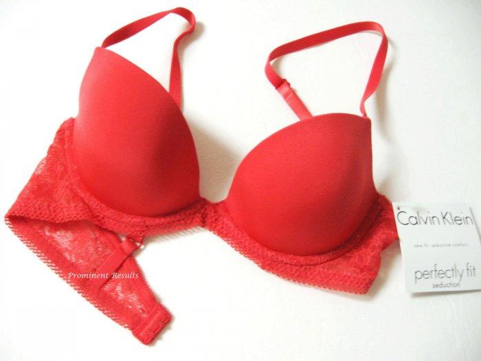 A0235 Calvin Klein Seduction Emotion Lace Sleek Cup Plunge W/Lift Bra F2862DS RED  SIZE 36B
