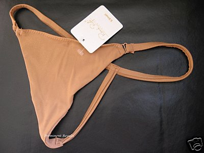 A0187 RENE ROFE SAND SILKY SOFT MICROFIBER G-STRING MEDIUM NEW WITH TAG